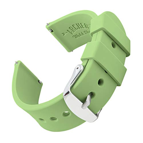 Verizon Green - Archer Watch Straps Silicone Quick Release Soft Rubber Replacement Watch Bands for Men and Women (Tea Green, 20mm)