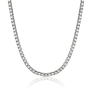 IGI Certified 14K Gold and Diamond Tennis Necklace (H-I Color, I1 Clarity), 17″