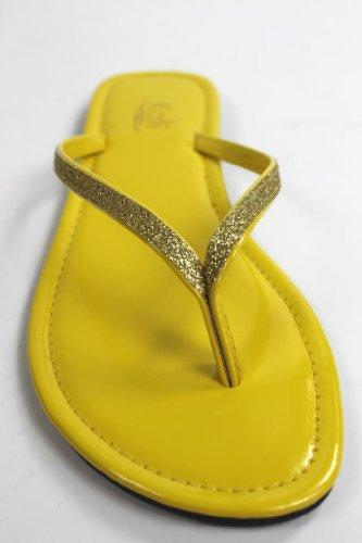 Kali Chaussures Femmes Focus Glitter Flip Flops Jaune