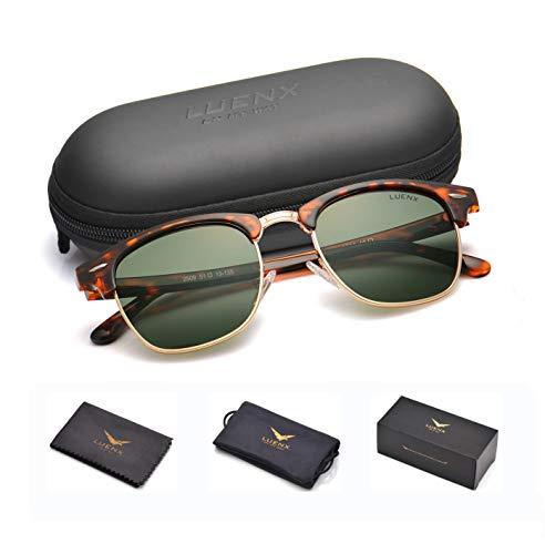 LUENX Men Semi Rimless Polarized Sunglasses Women Grey Green Lens Tortoise Retro Frame 51MM,UV 400 with Case