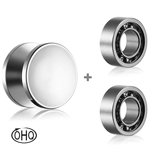 One Set Bearings (Fidget Spinner Caps and R188 Bearings Set - Replacement Parts for Fidget Spinner - Caps and Bearings Pack - 1 pair of SS Buttons and 2 SS 10-ball R188 bearings - Caps perfect for R188 bearings)