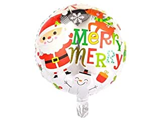 Merry Merry Santa Claus & Snow Man Round Shaped Balloon Merry Christmas Foil Membrane Helium Balloon Christmas Decoration Party Accessories Ornaments
