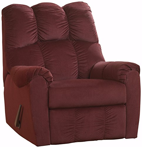 Rocker Recliner Signature (Ashley Furniture Signature Design - Raulo Rocker Recliner - 1 Pull Manual Reclining Sofa - Burgundy)