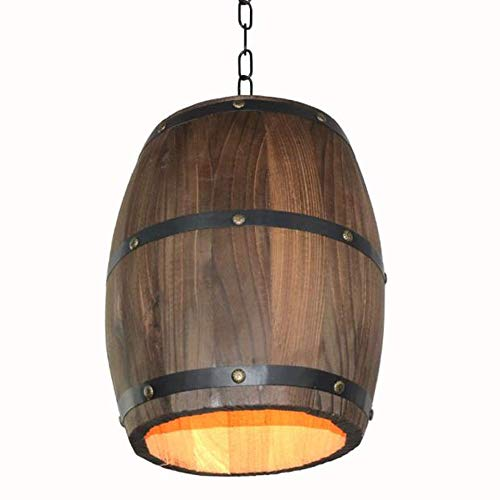 E27 Retro Industrial Loft Wooden Pendant Light, Industrial Retro Style Drum Decorative Ceiling Light, Creative Cafe Bar Winery Farm Featured Fixture Light, Wine Barrel Chandelier (Outdoor Barrel Chandelier Wine)