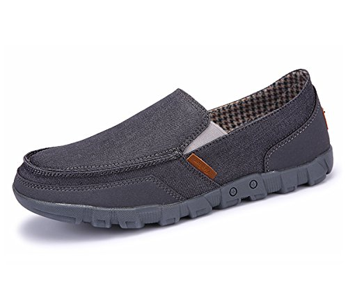 (Men's Slip On Canvas Casual Shoes Vintage Comfort Loafers Breathable Boat Shoes for Outdoor Driving (7.5 D(M) US, Dark Grey))