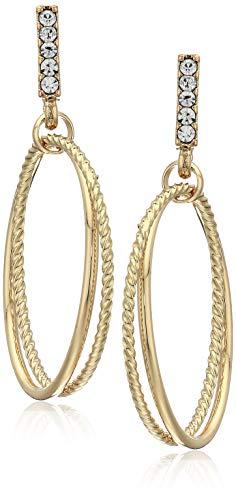 - Women's Gold Tone Post Ring Hoop Earrings