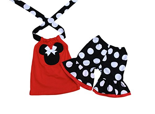 Minnie Mouse Black Red Girl Outfit- Minnie Mouse Short Halter Top Outfit- Minnie Mouse Girl Clothes- Minnie Mouse Toddelr (Minnie Outfit)