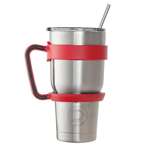 Livin' Well 30oz Stainless Steel Tumbler Rambler Insulated Coffee Cup Mug Gift Set | Sliding Lid,Handle,2 Metal Straws | Double Wall Vacuum Travel Flask | 24 Hours Ice Retention | Makes a Great Gift