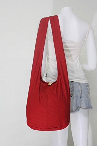 NaLuck. Bandolera de algodón, bolso al hombro estilo Hobo. Mediana Red