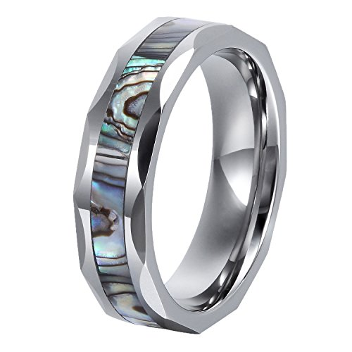 GER Promise Ring Engagement Ring Wedding bands with Abalone Shell Inlay Pipe Cut Edge High-polished Comfort Fit for Men&Women