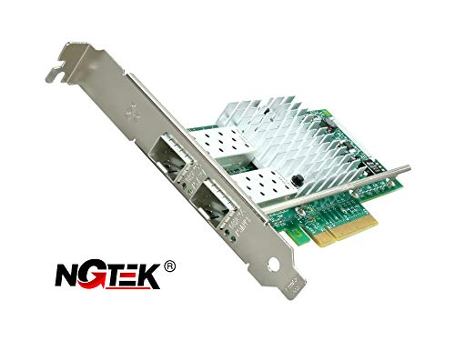NGTEK X520-DA2/SR2 E10G42BTDA Network Card - 10Gb PCIe NIC, Dual SFP+ Port, PCI Express Ethernet LAN Adapter - with Intel 82599ES Chipset - Supports Windows Server, Linux, VMWare, ESX - Both Brackets