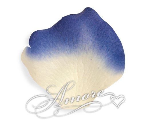 1000 Wedding Silk Rose Petals Laguna (Light ivory and Royal Blue) 2 inch Wide