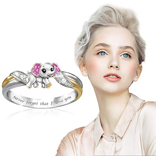 dongjing Small Animal Rings, Personalized Inlaid Zircon Engraved Rings for Mother's Day Ring Gifts, Etc. (Elephant 1, 8)