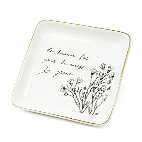 ReLive Decorative Expressions - 5x5 Square Ceramic Trinket Jewelry Tray Floral Kindness & Grace ()