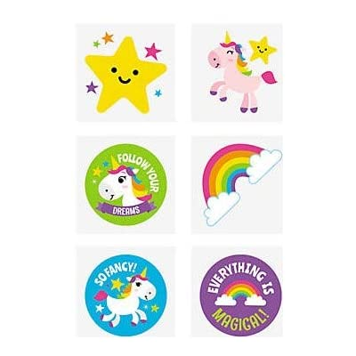 RAINBOW UNICORN TATTOOS (6DZ) - Apparel Accessories - 72 Pieces: Toys & Games
