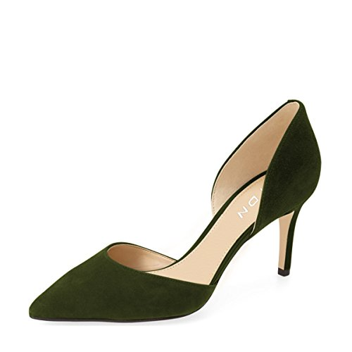 YDN Women Classic Low Heels D'Orsay Pumps Suede Pointed Toe Slip on Dressy Stilettos Shoes Dark Green cheap sale for cheap vLu5wQi4q