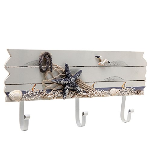 Oceanic Coastal White Sandy Beach Style Starfish, Seagull & Seashells Wood 3 Metal Coat Hooks Wall Rack (Beach Hand Towel Hooks)