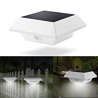AMZSTAR Waterproof Durable Solar Powered 4 Led PIR Motion Sensor Light Night Utility Security Light for Indoor Outdoor Portable Wall Light for Garden,DriveWay,Patio Path ,fence?Yard