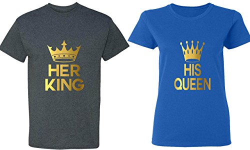 Her King & His Queen - Matching Couple Shirts - His and Her T-Shirts - Tees (Cute Couple Shirt Ideas)