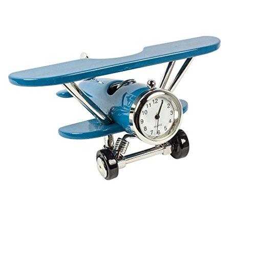 - Miniature Metal Airplane Clock (Blue)