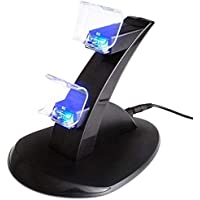 LED Charger Dock Station Dual USB Fast Charging Stand For PS4- BLACK