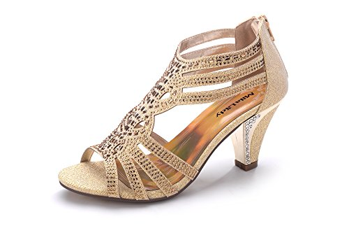 Mila Lady Women's Lexie Crystal Dress Sandals, Kimi25 Gold - Small Gold Crystal