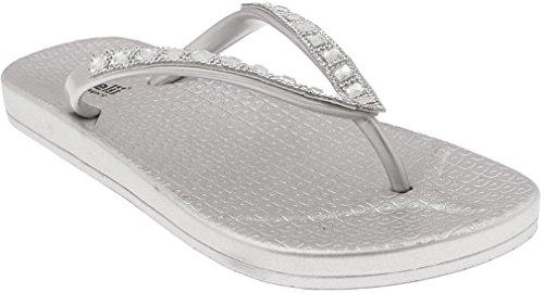 Capelli New York Ladies Fashion Flip Flops with Gem and Rhinestone Trim Silver ()