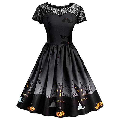 Embellished Satin A-line Dress - Clearance Sale! Wintialy Women Short Sleeve Halloween Retro Lace Vintage Dress A Line Pumpkin Swing Dress