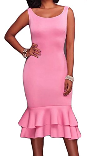 Cromoncent Femmes Sans Manche Ruffle Solide Sirènes Bodycon Col Rond Rose Long Dress