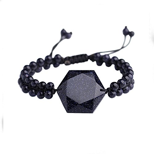 OCARLY Black Obsidian/Blue Sandstone Star of David Bracelet Hexagram Amulet Gemstone Charm Pendant Bead Chain Jewish Religious Jewelry for Men Women