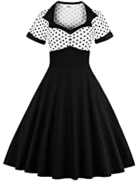 Women's Dress For Cocktail Party Summer 1960's Vintage Sundress For Women Polka Dots M-3XL