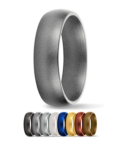 SafeRingz Silicone Wedding Ring, 6mm, Made in The USA, Men or Women, Platinum 8