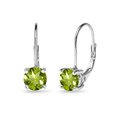 (Sterling Silver 6mm Round-Cut Peridot Leverback Earrings)