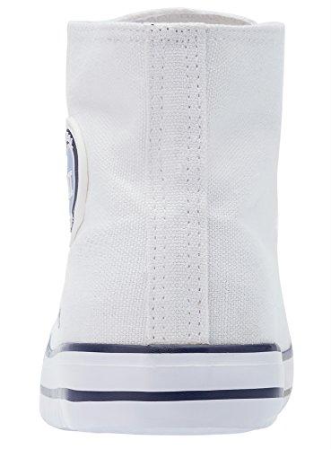 oodji Ultra Damen Hohe Baumwoll-Stoffschuhe Weiß (1000N)