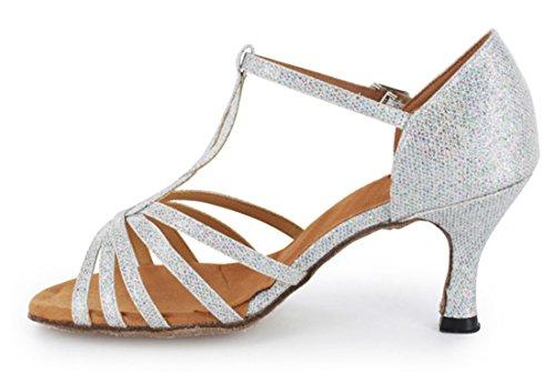 TDA Womens Fashion T-strap Salsa Tango Ballroom Latin Modern Dance Wedding Shoes Silver 3q9p6