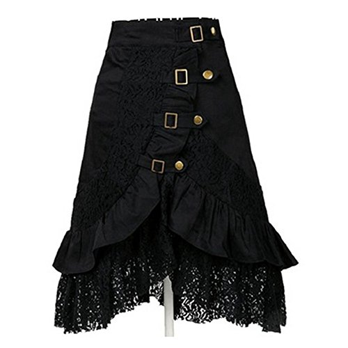 Taiduosheng Women's Steampunk Gothic Clothing Vintage Cotton Black Lace Skirts (Steampunk Skirt)
