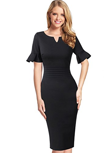 VFSHOW Womens Ruffle Bell Sleeve Ruched Work Business Party Sheath Dress 375 BLK ()