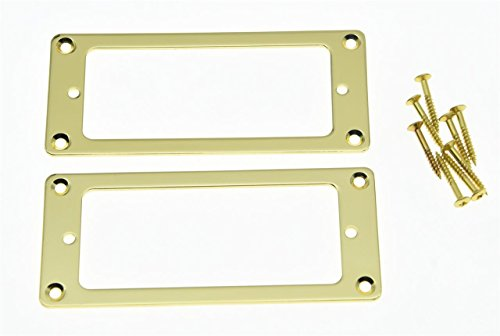Gold Humbucker (KAISH 2pcs Metal Gold Mini Humbucker Pickup Mounting Rings Flat Base Mini Pickup Frame)