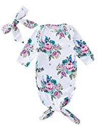 COLOOM Infant Baby Tie Nightgown and Matching Headband Floral Sleep Gown with a Tie Bottom for Newborn Girl