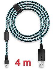 Lioncast 4m Ladekabel/USB-Kabel/Controllerkabel für Controller der PS4 und Xbox One, Xbox One X, schwarz/blau Micro-USB