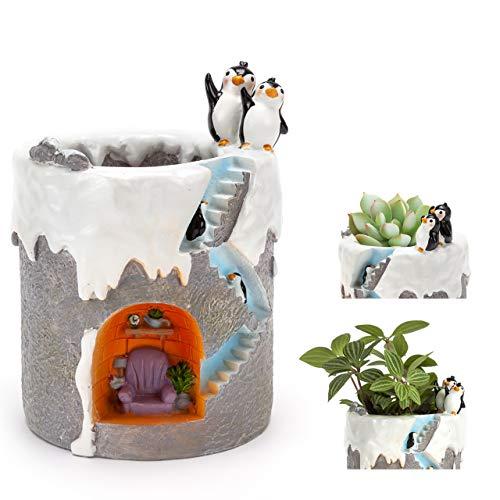 (ChasBete Cute Flower Pots Indoor Penguin Planter Decorative Resin Garden Small Plant Pots/Brush Pot Reusable)