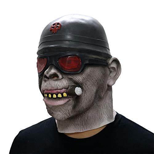 BOOMdan Gorilla Monkey Smoking Mask Melting Face Latex Costume Halloween Prop Scary Mask Toy (A)