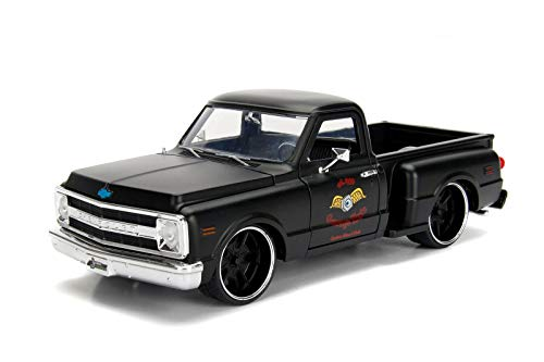 Jada 1969 Chevrolet C10 Stepside Pickup Truck Matt Black Garage Nuts Just Trucks Series 1/24 Diecast Model Car 99397