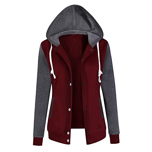 iTLOTL Womens Long Sleeve Hoodie Sweatshirt Print Causal Tops Blouse(Wine,M)