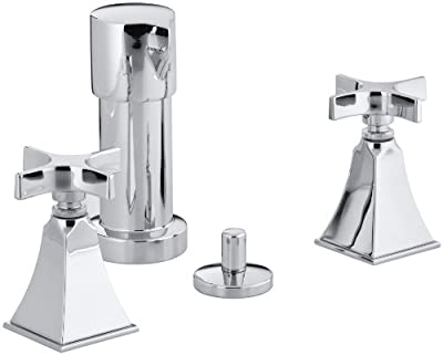 Kohler K-470-3S-CP Memoirs Bidet Faucet with Stately Design and Cross Handles, Polished Chrome