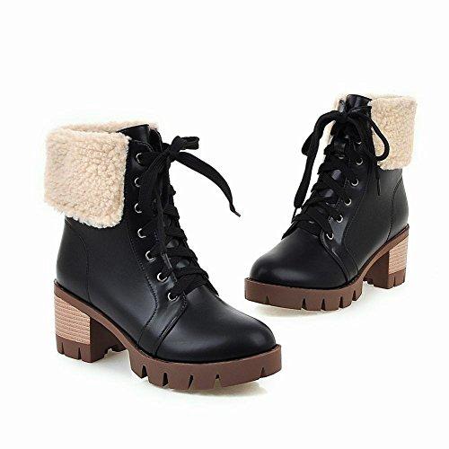 Carolbar Womens Faux Fur Lace Up Platform Warm Winter Use Mid Heel Short Boots Black bmCGeDT4R