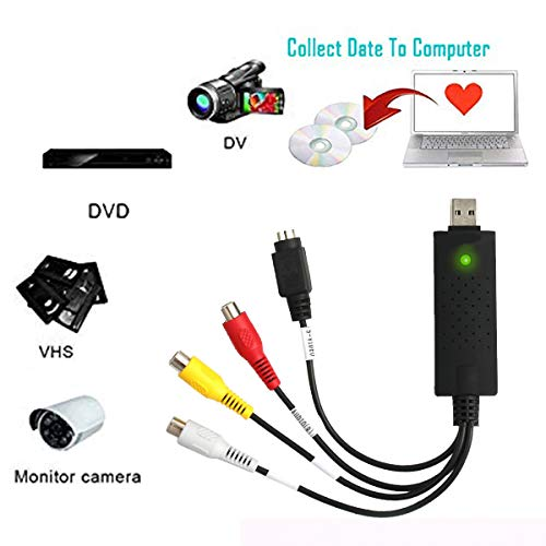 VCR to DVD Digital Video Converter USB 2.0 UVC Capture Device with Editing Software Transfer Analog VHS Tapes CD DV Camcorder Cassette DVR Hi8 TV File Digitizer for Computer RCA Audio Recorder Adapter