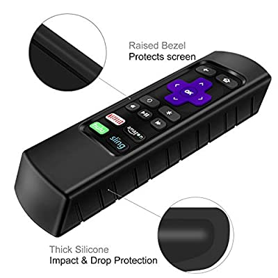 Fintie Protective Case for Roku Express, Roku Premiere RC68 RC69 RC108 RC112 Remote - CaseBot (Honey Comb Series) Light Weight (Anti Slip) Shock Proof Silicone Remote Cover, Black: Home Audio & Theater