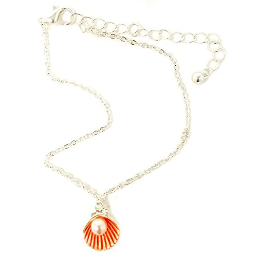Emulily Pearl Colored Metal Shell Charm Anklet Sea Life Theme (Coral) -
