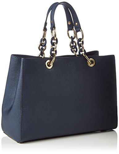 7d92be8c86 Michael Kors Cynthia Medium Leather Satchel in Navy Blue  Handbags   Amazon.com